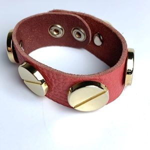 Jewelry - Pink Leather Gold Accent Bracelet